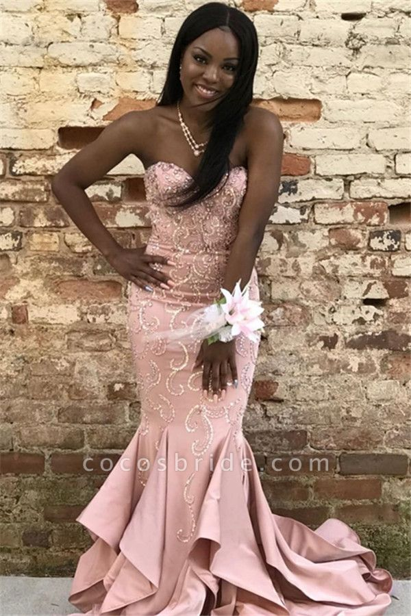 Eye-catching Strapless Appliques Mermaid Prom Dress