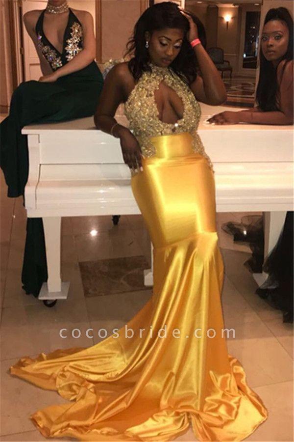 Exquisite Halter Appliques Mermaid Prom Dress