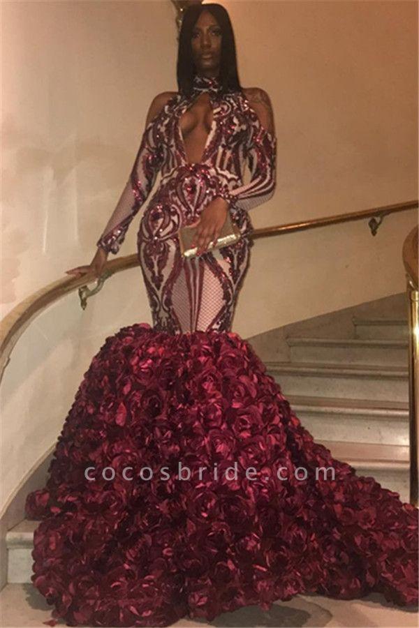 Graceful High Neck Appliques Mermaid Prom Dress
