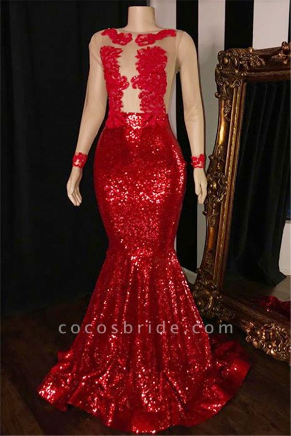 2021 Long Sleeves Sequins Mermaid Prom Gowns | Glamorous Sheer Tulle Red Long Evening Dress