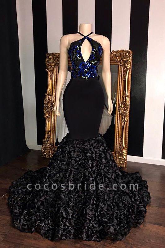 Black Sleeveless Flowers Mermaid Prom Dresses | Elegant Halter Sequins Appliques Evening Gowns