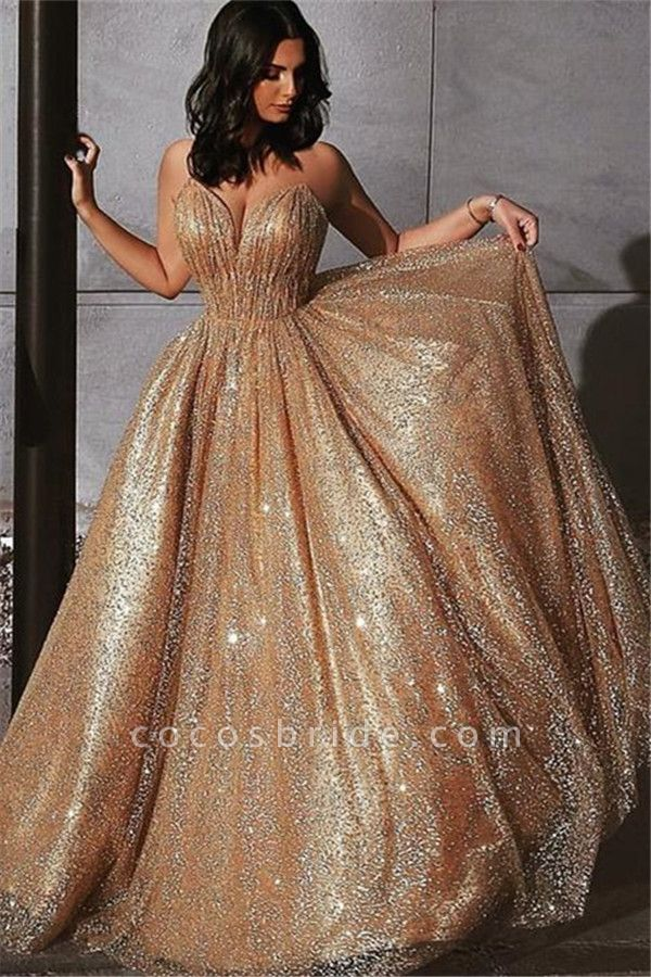 Best Spaghetti Straps Sequined A-line Prom Dress