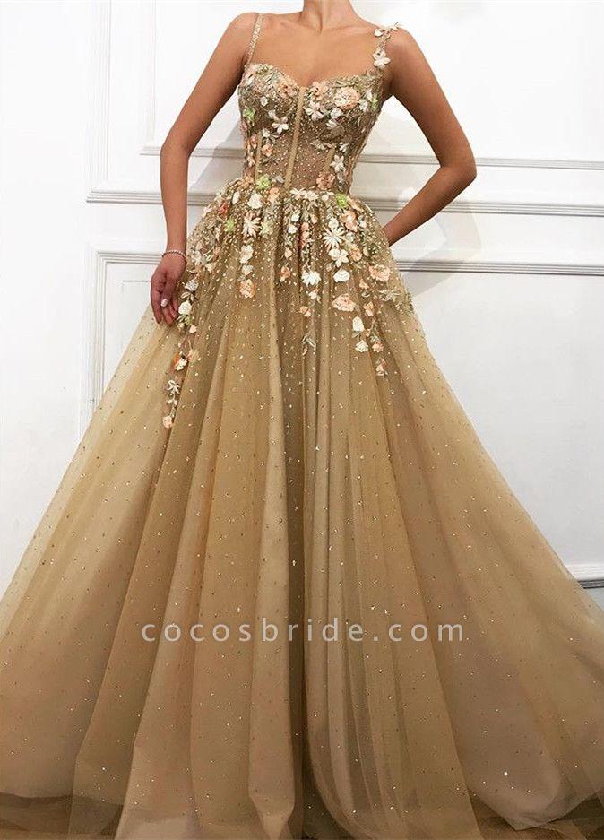 Chic Spaghetti Straps Appliques A-line Prom Dress