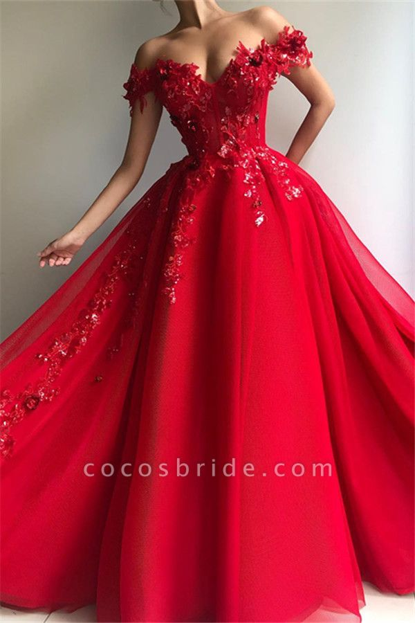 Excellent Off-the-shoulder Appliques A-line Prom Dress