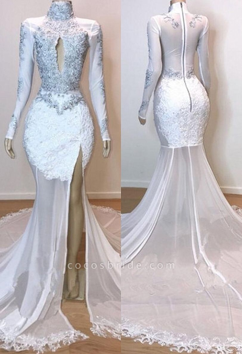 White Stunning Lace Long Sleeves Prom Dresses | 2021 Sheer Tulle Slit Mermaid Evening Gowns