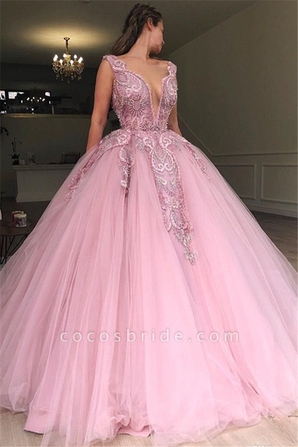 Modest Straps Appliques Ball Gown Prom Dress