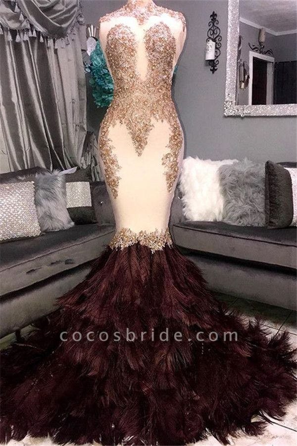 Graceful High Neck Appliques Mermaid Prom Dress