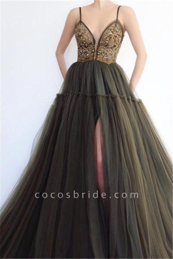 Excellent Spaghetti Straps Split Front A-line Prom Dress