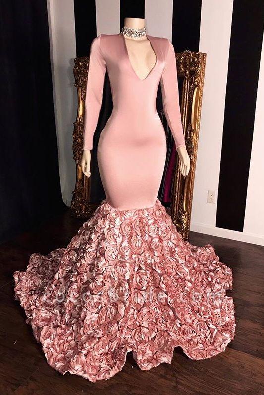 Pink Long Sleeves Flowers Mermaid Prom Gowns | 2021 Elegant V-Neck Evening Dress