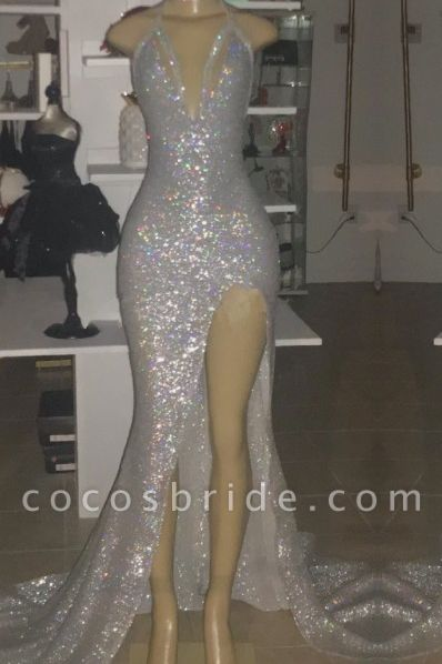 V-neck Sequins Mermaid Front Slit Floor Length Prom Dresses