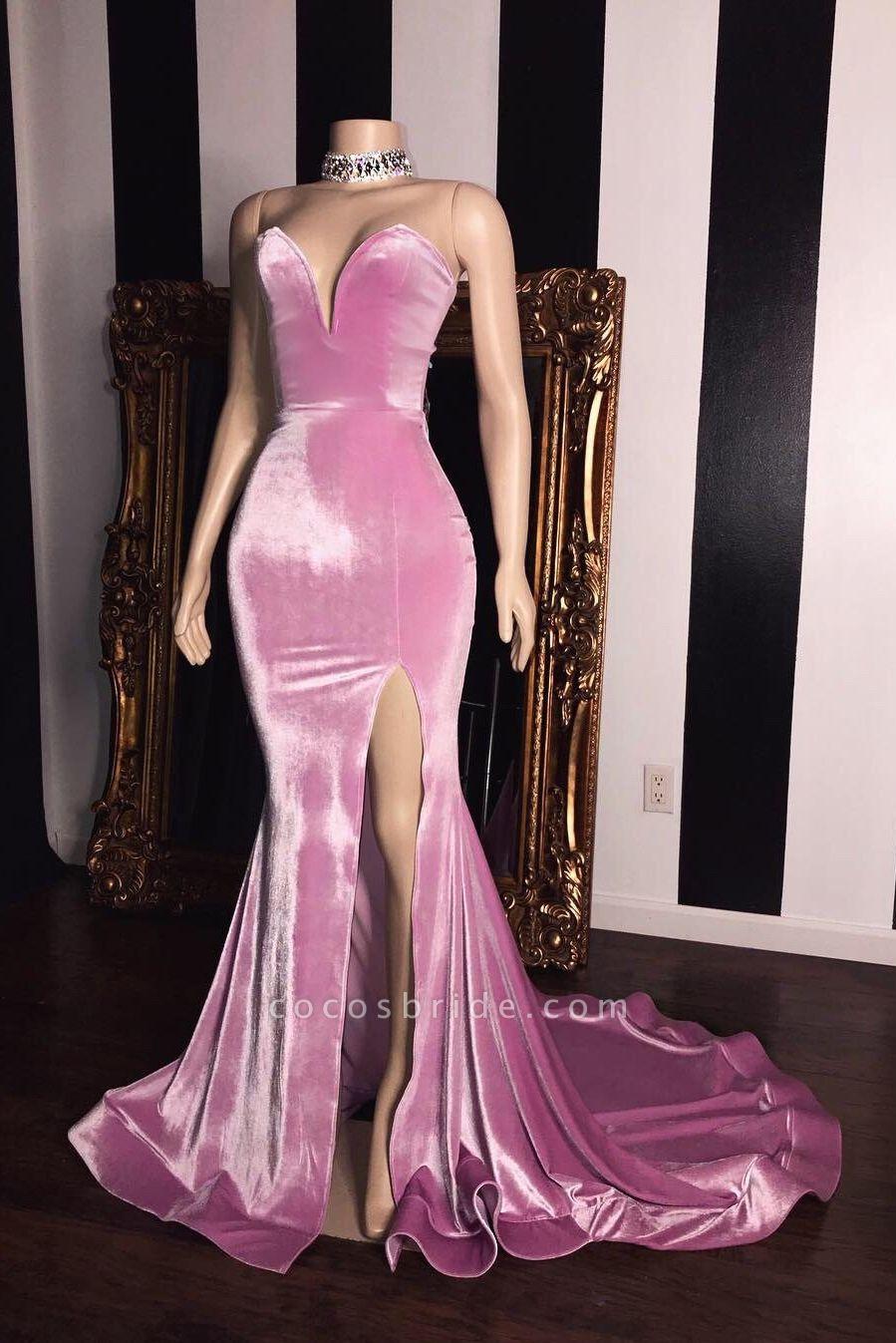 Pink Velvet Sweetheart Prom Dresses | Elegant Side Slit Mermaid Long Evening Gowns
