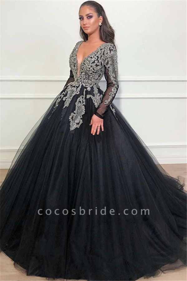Beautiful V-neck Appliques Ball Gown Prom Dress