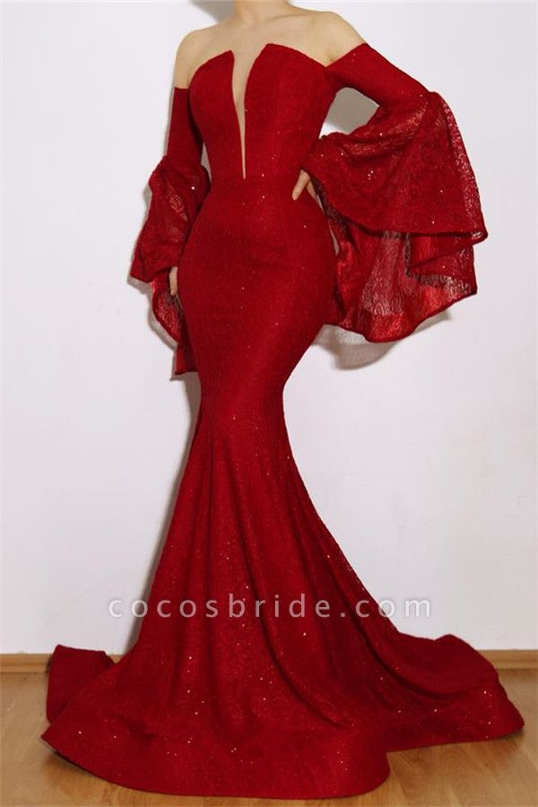 Eye-catching Off-the-shoulder Lace Mermaid Prom Dress