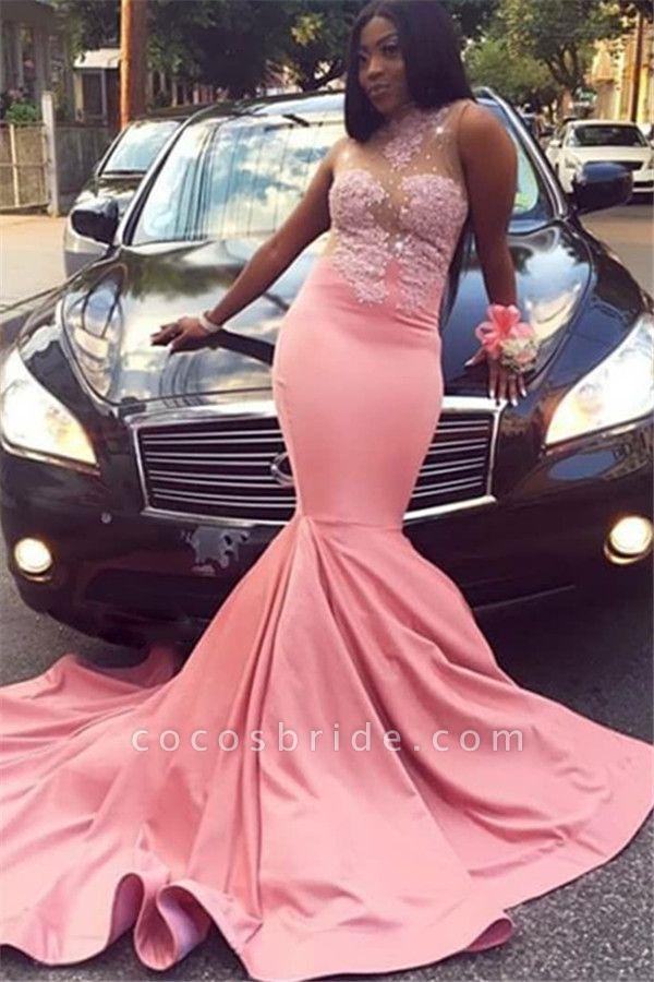 Excellent High Neck Appliques Mermaid Prom Dress