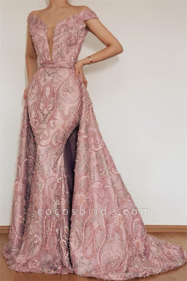 Attractive Off-the-shoulder Appliques Mermaid Prom Dress