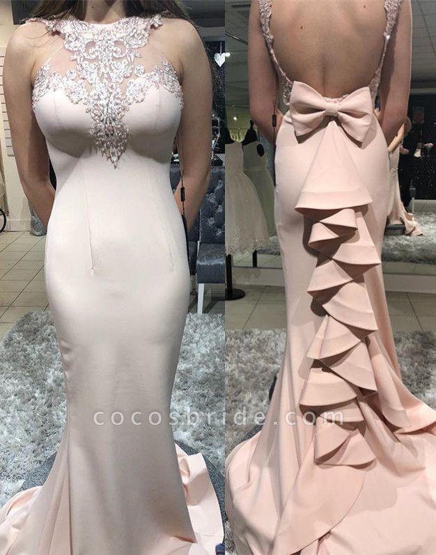 Amazing High Neck Cascading Ruffle Mermaid Prom Dress