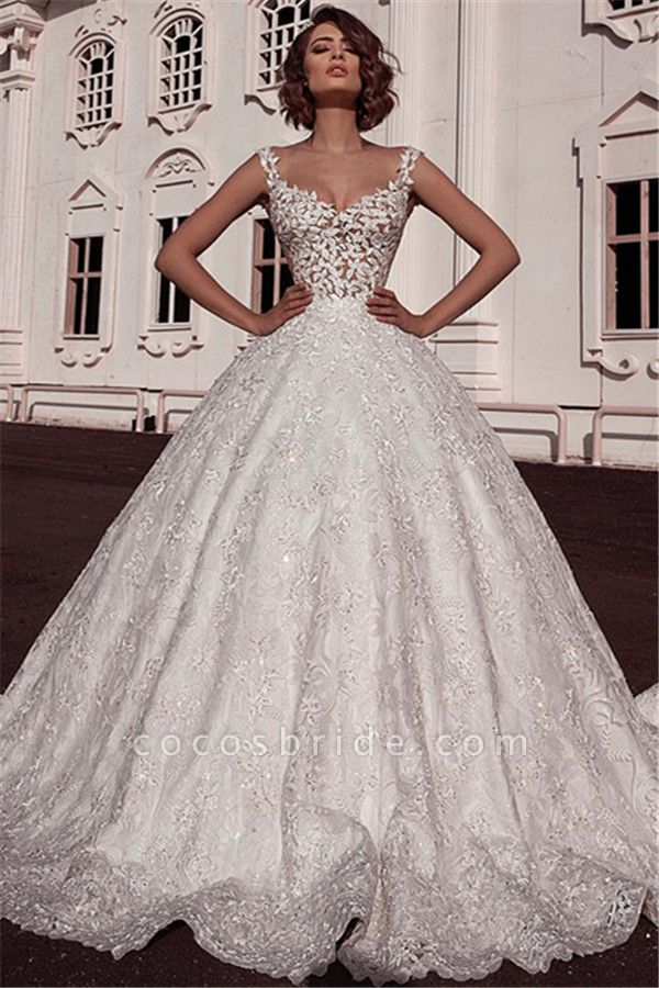 Elegant Ball Gown Spaghetti Straps Sleeveless Lace Applique Wedding Dresses