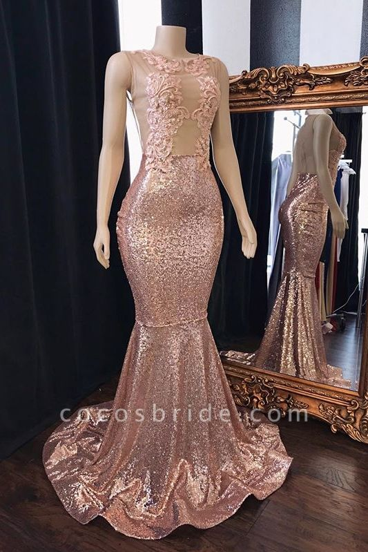 Pink Sequins Appliques Mermaid Prom Dresses | 2021 Sleeveless Sheer Tulle Evening Gowns