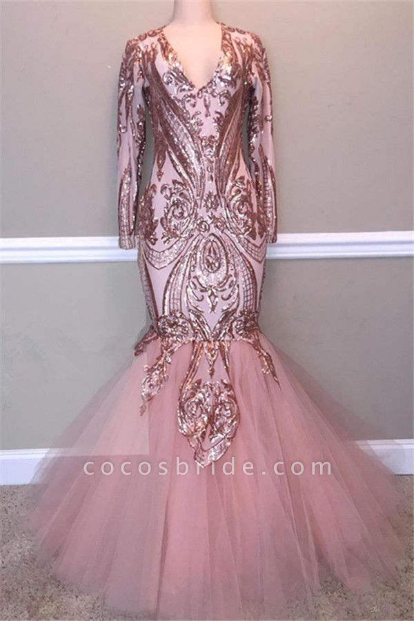 Glamorous Sequins A-Line Long Prom Gowns | 2021 Spaghetti Straps V-Neck Evening Dress