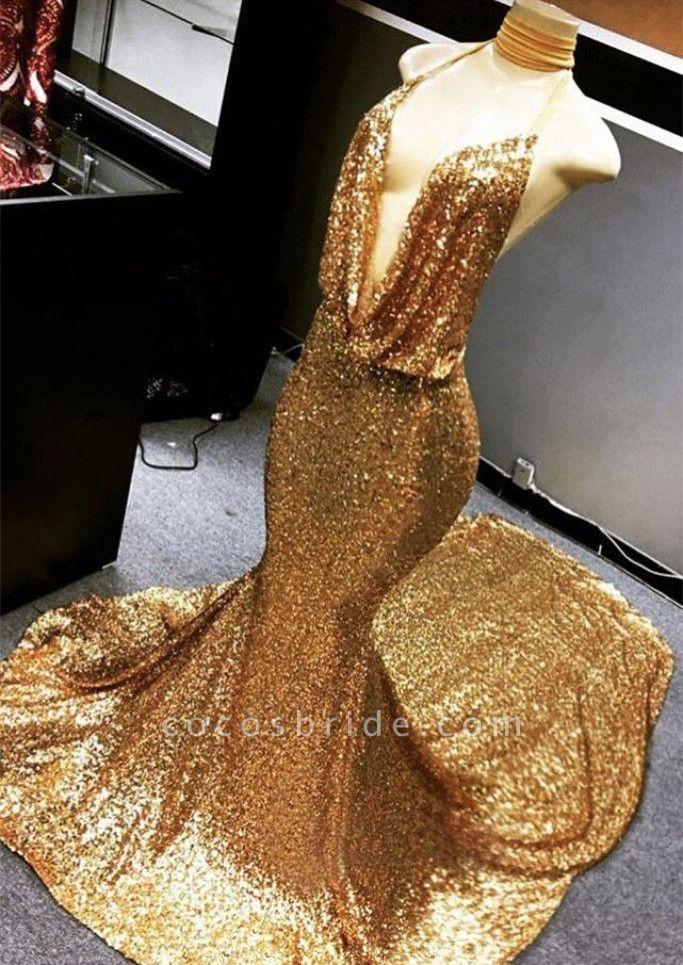 Gold Sparkly Sequined Deep Flow Neck Prom Dress | Halter V-neck Mermaid Evening Dress