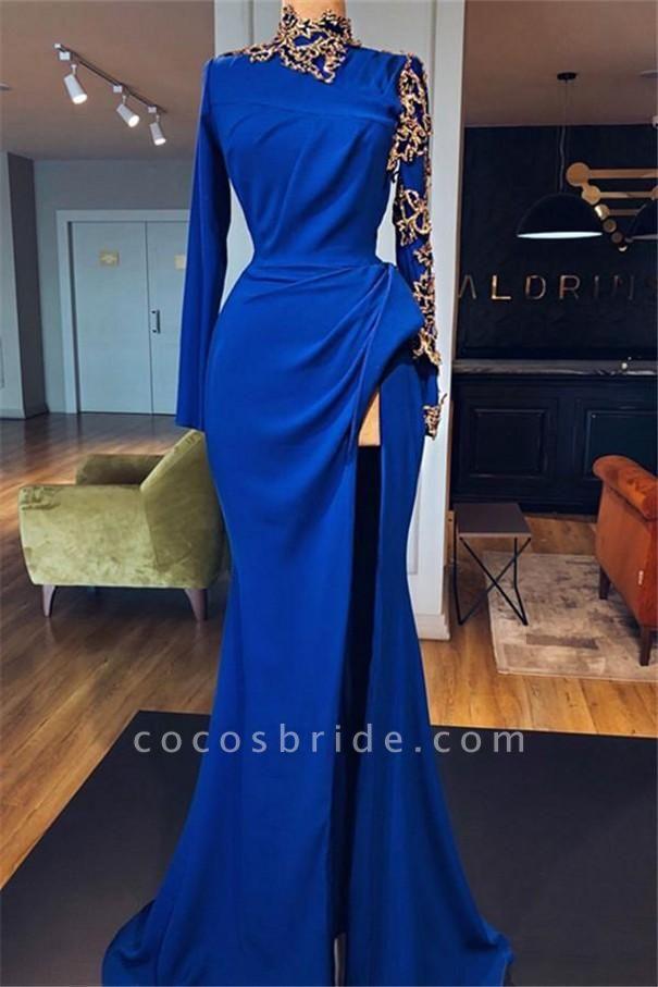 Royal Blue High Neck Side Slit Mermaid Prom Dresses | Elegant Long Sleeves Appliques Evening Gowns