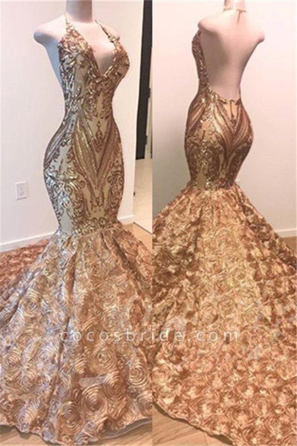 Attractive V-neck Satin Mermaid Prom Dress