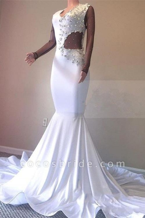 Crystal Beading White V-neck Sweep Train Mermaid Evening Gowns