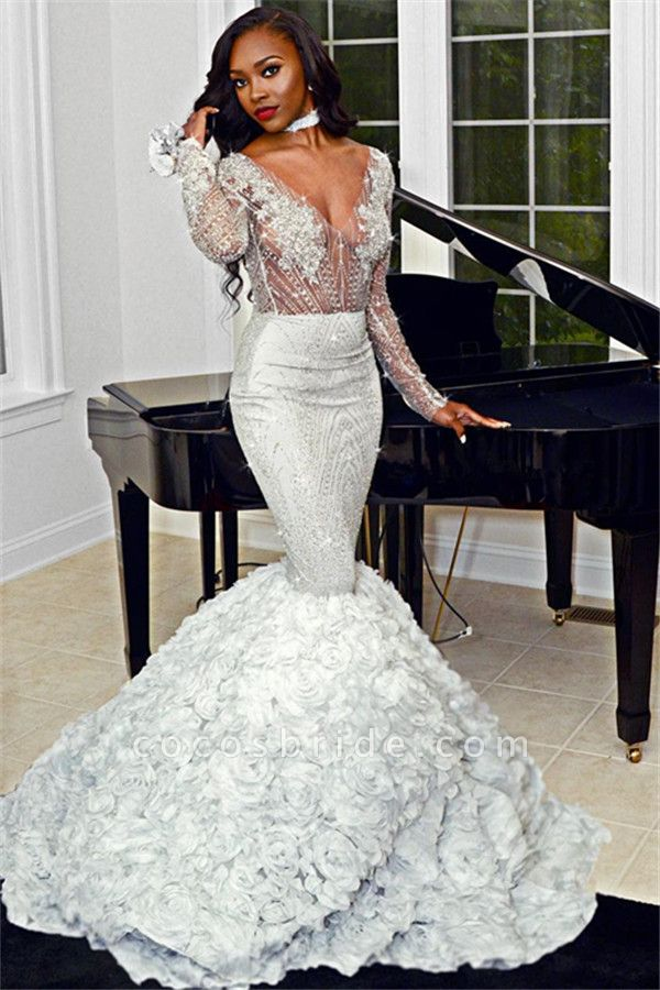 Amazing V-neck Appliques Mermaid Prom Dress