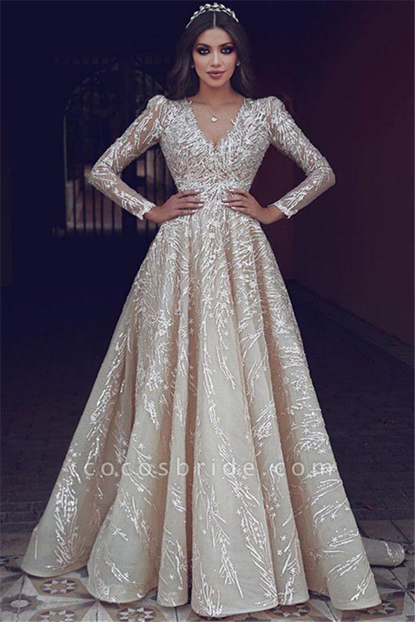 Elegant V-neck Appliques A-line Prom Dress