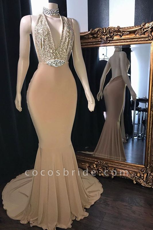 Champagne Crystal Halter Mermaid Long Prom Dresses | Sexy V-Neck Sleeveless Evening Gowns