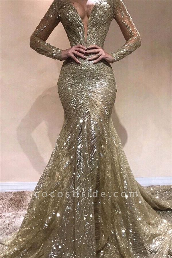 Fascinating V-neck Sequined Mermaid Prom Dress
