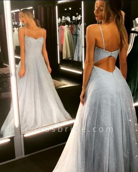 Chic Spaghetti Straps Tulle A-line Prom Dress