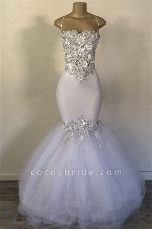 Exquisite Spaghetti Straps Appliques Mermaid Prom Dress
