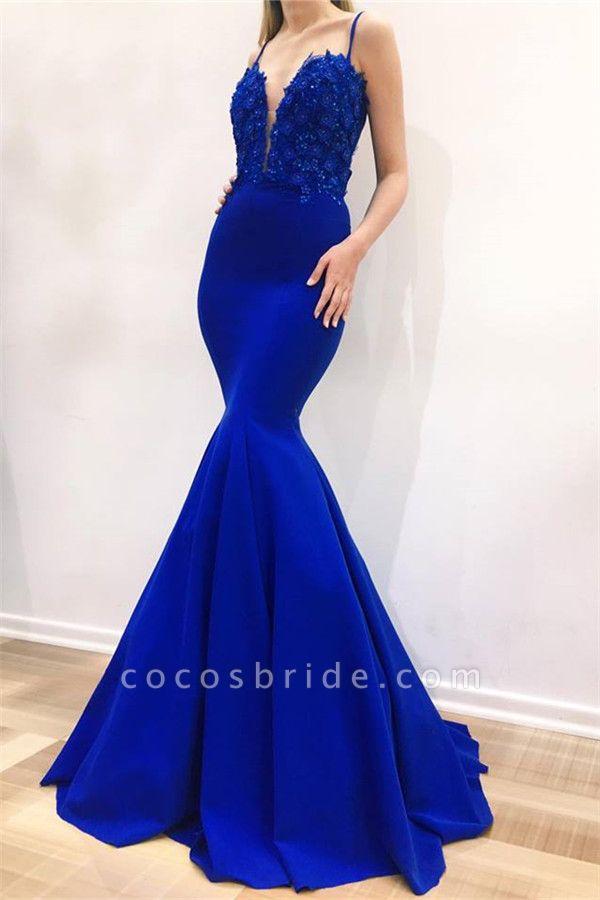 Excellent Spaghetti Straps Appliques Mermaid Prom Dress