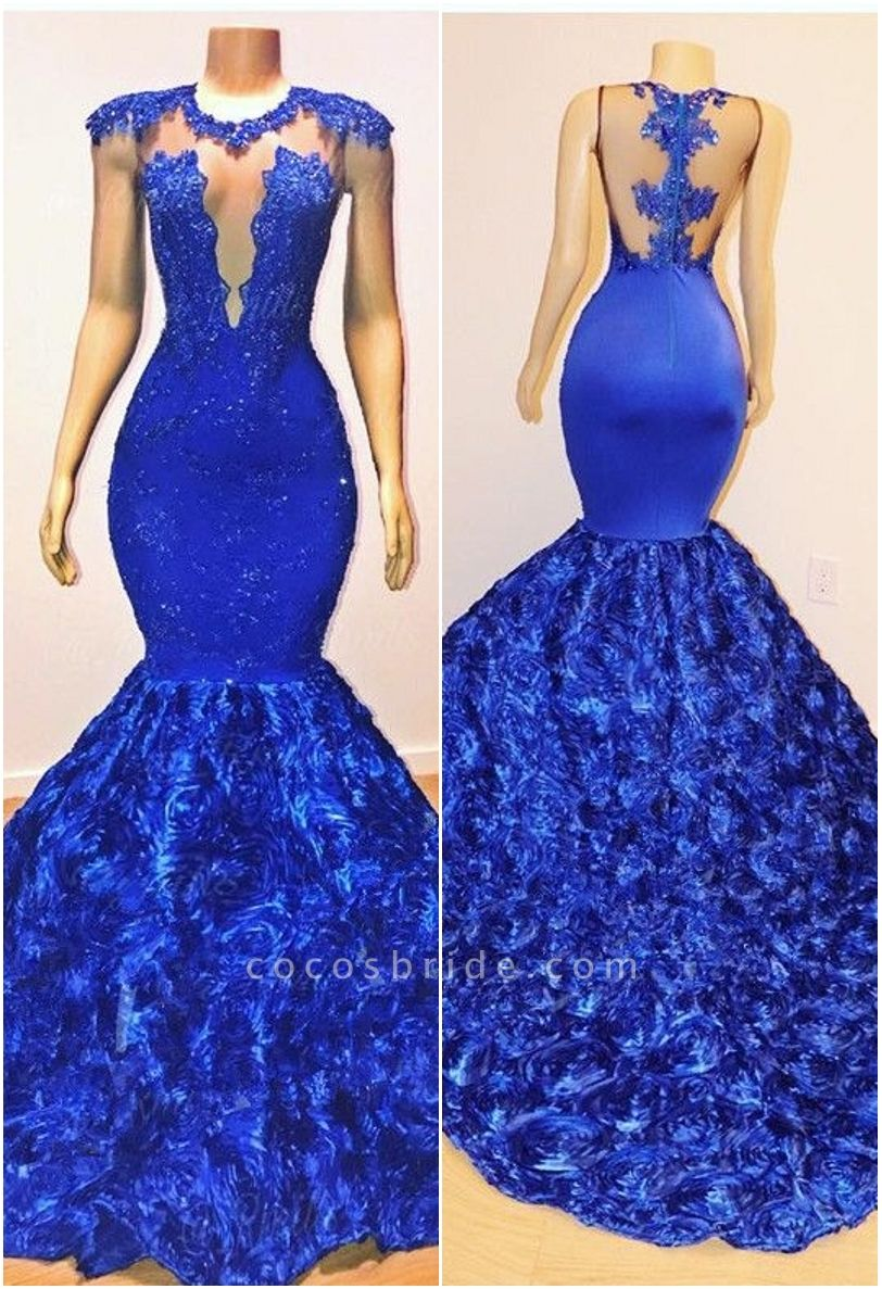 2021 Royal-Blue Flowers Mermaid Long Evening Gowns | Glamorous Sleeveless With lace Appliques Prom Dresses