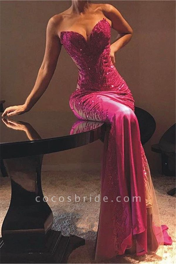 Elegant Sweetheart Appliques Column Prom Dress