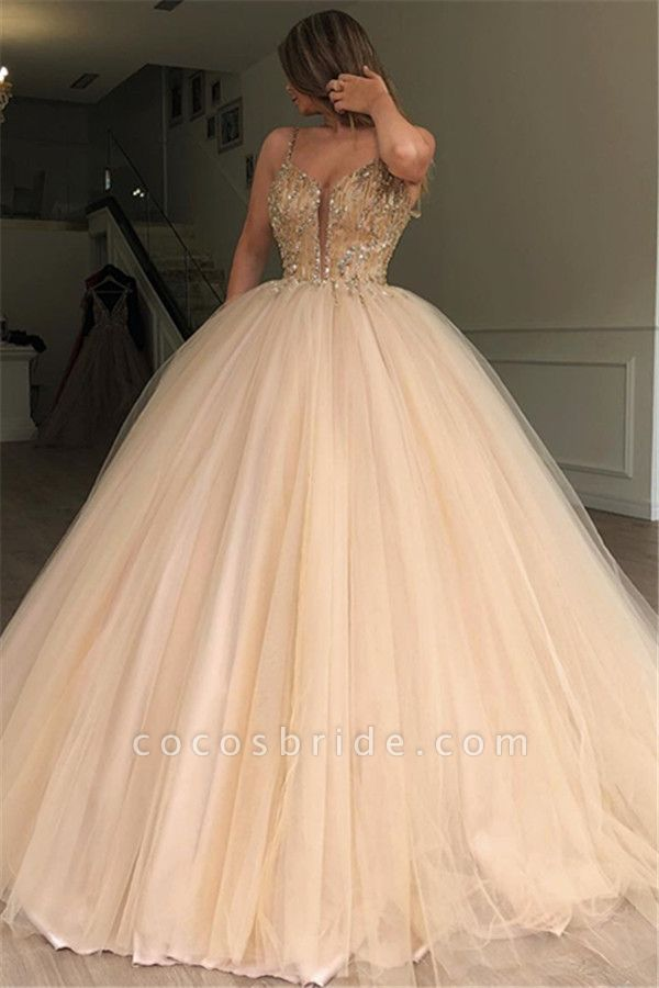 Latest Spaghetti Straps Beading Ball Gown Prom Dress