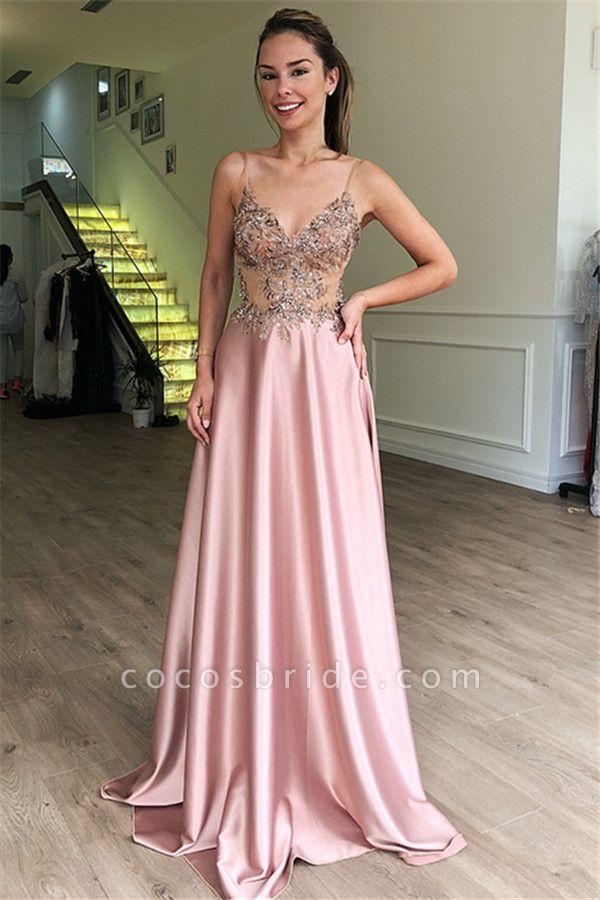 Eye-catching Spaghetti Straps Appliques A-line Prom Dress