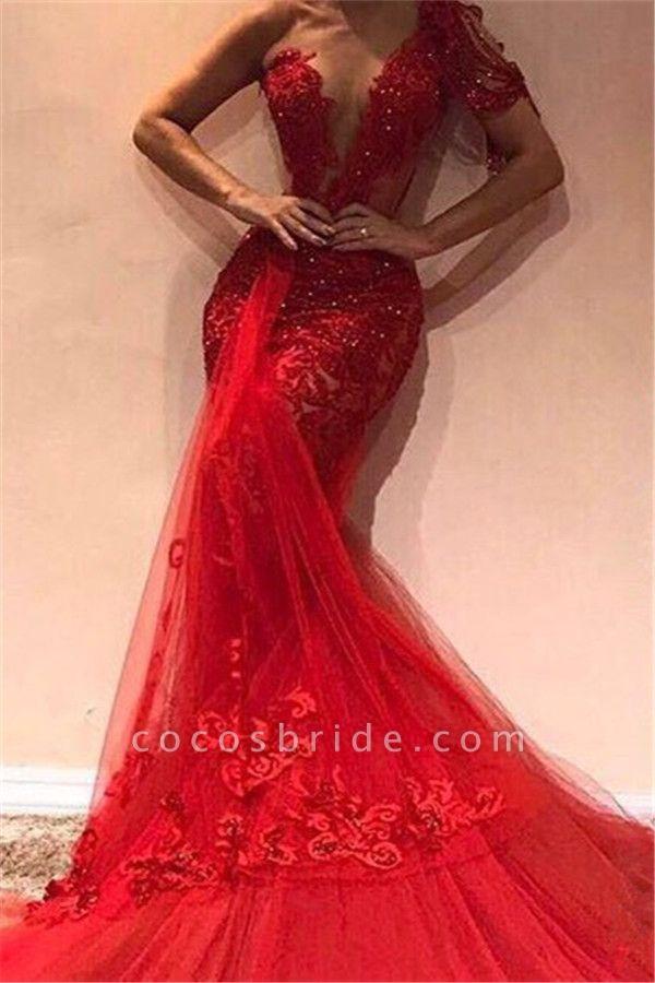 Glorious One Shoulder Appliques Mermaid Prom Dress