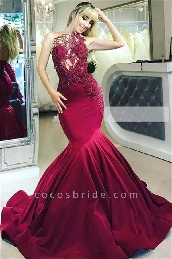 Excellent High Neck Sequined Mermaid Prom Dress