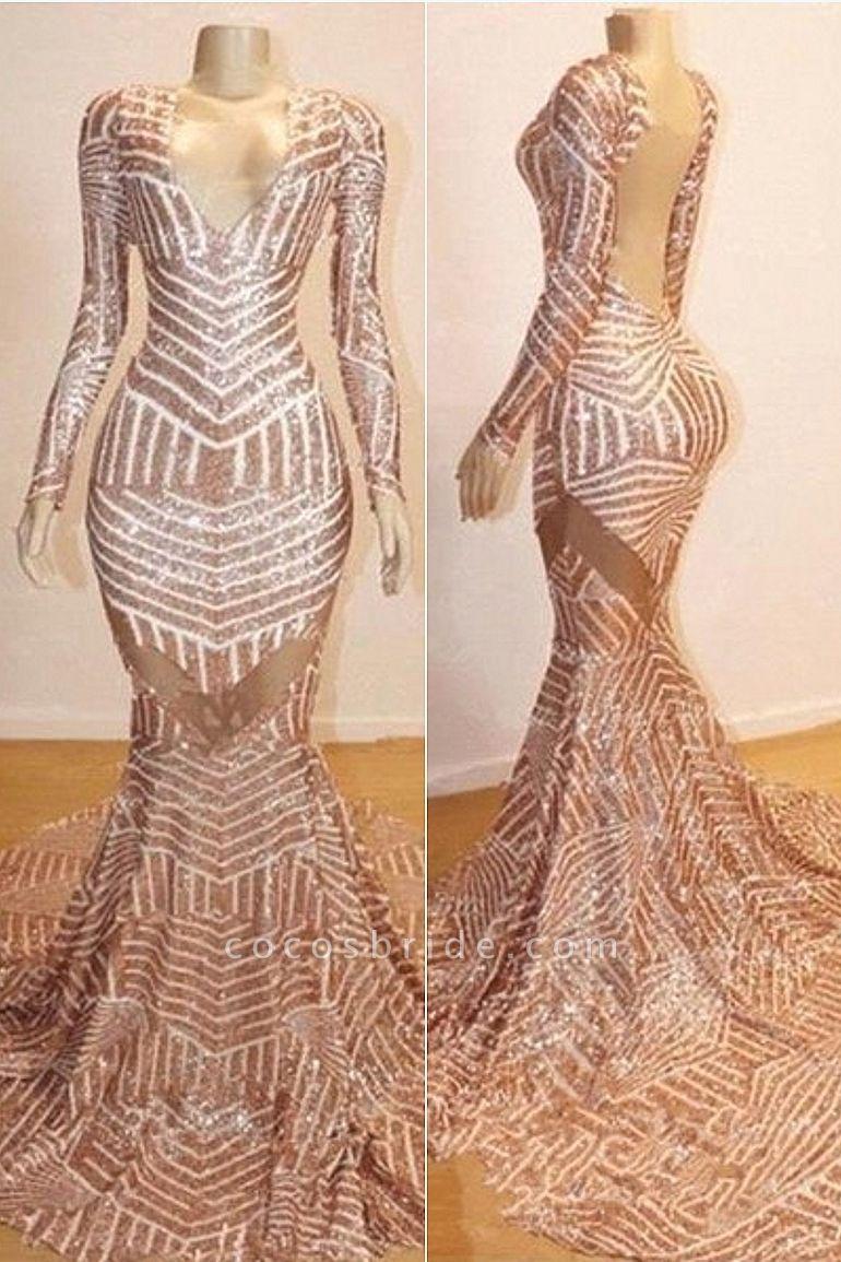 Mermaid Long Sleeves V-neck Sequined Sweep Train Prom Dresses
