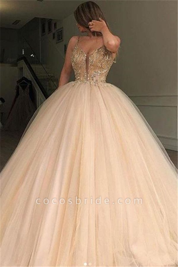 Glamorous Ball Gown Spaghetti Straps Beaded Prom Dresses
