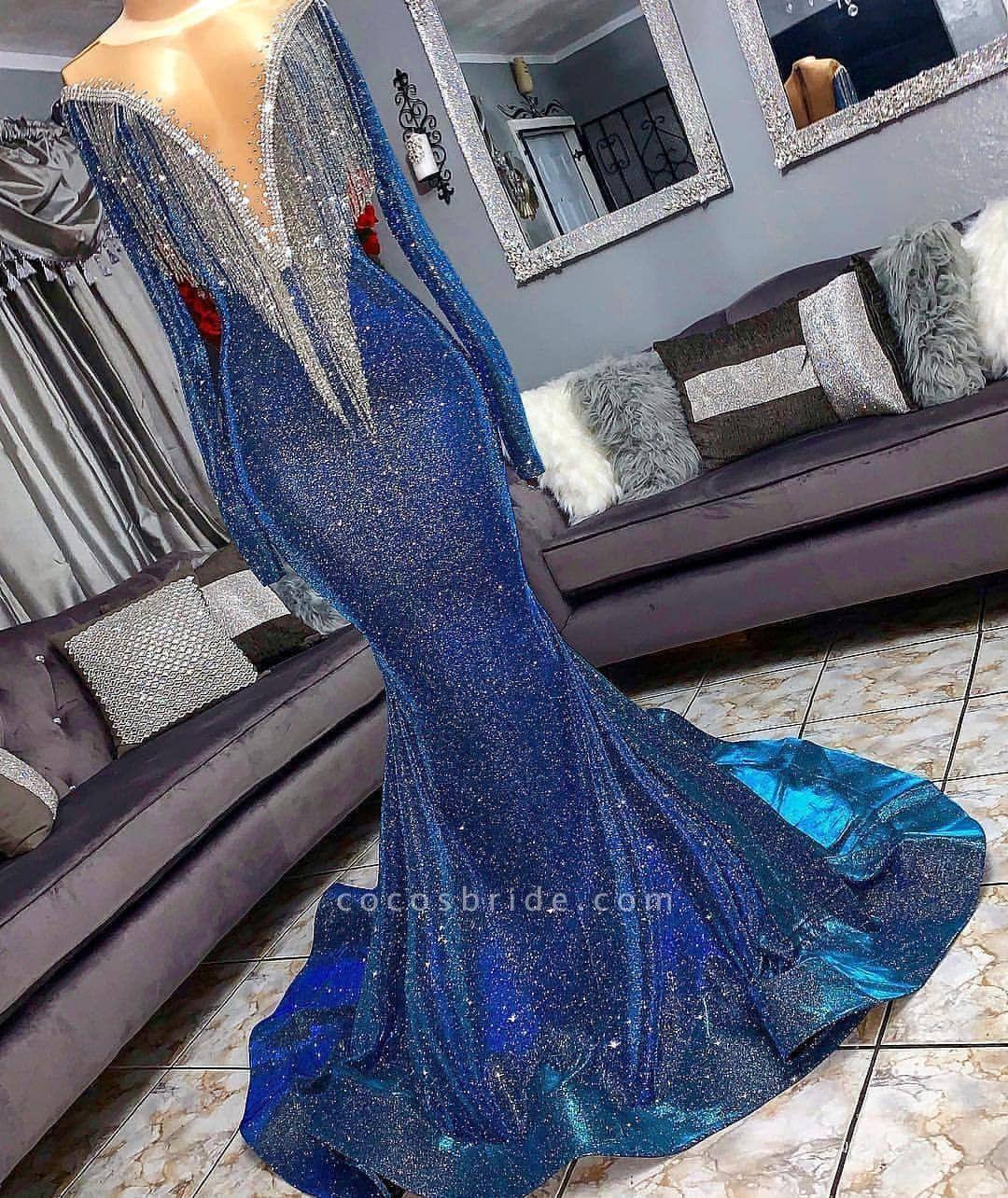 Luxurious Sequins Long Sleeves Mermaid Sheer Neckline Prom Dresses