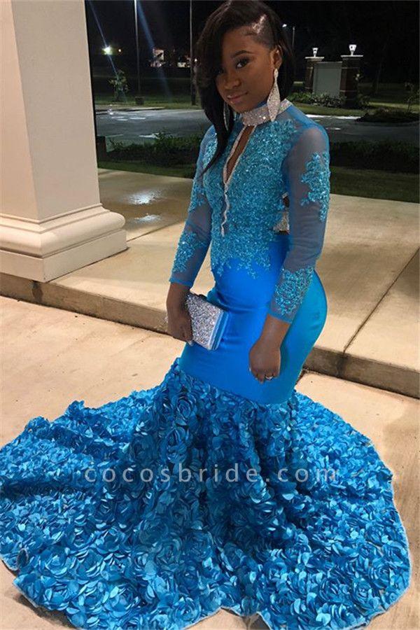 Eye-catching High Neck Flower(s) Mermaid Prom Dress