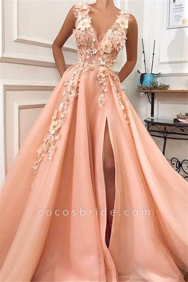 Graceful V-neck Split Appliques A-line Prom Dress