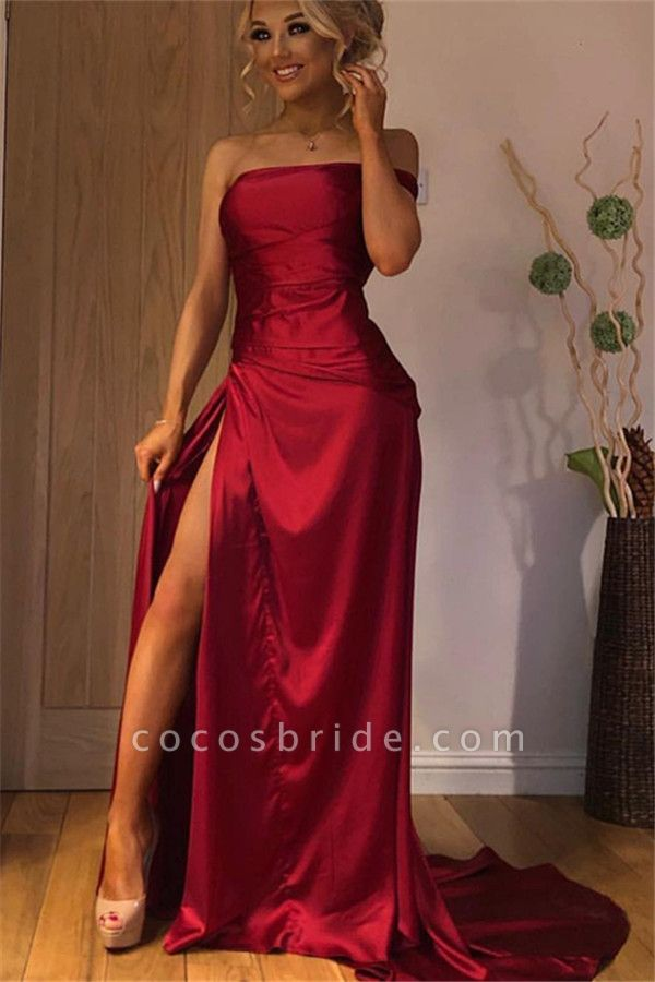 Fascinating Strapless Split Front A-line Prom Dress