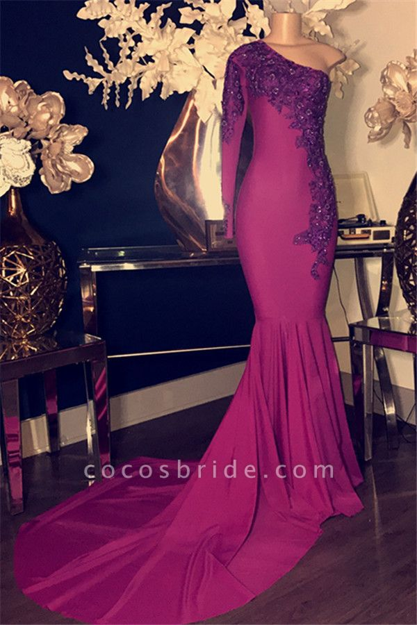 Glamorous Appliques One-Shoulder Long Sleeves Mermaid Prom Dress