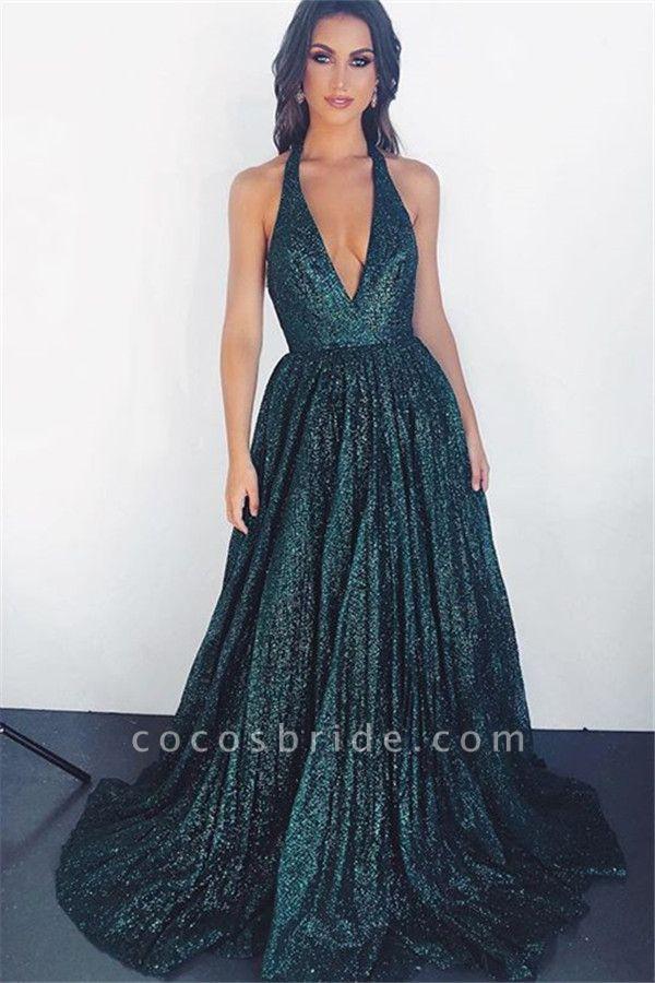 Glamorous V-neck Sparkly Halter A-Line Prom Dress