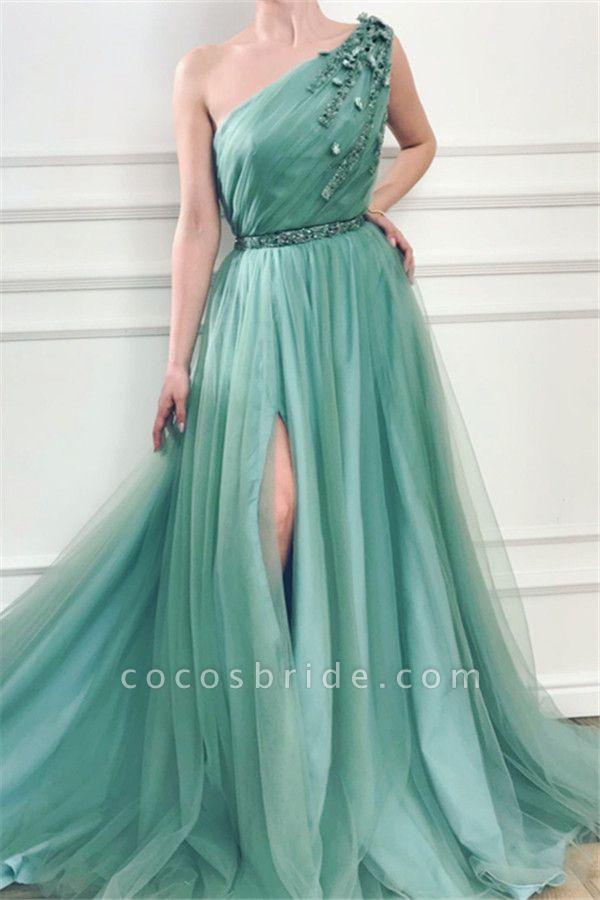 Precious One Shoulder Appliques A-line Prom Dress