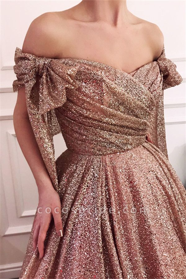 Fascinating Off-the-shoulder Sequined A-line Evening Dress